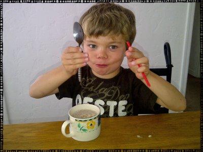 Eating Banana Ice Cream